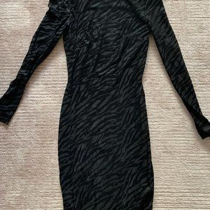 Reiss Black Velvet Long Sleeve Bodycon Dress
